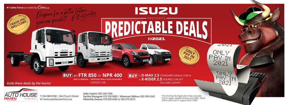 19785 AUTO HOUSE VRYHEID ISUZU PREDICTABLES WEB BANNER 1920x700PX FC E 2 Bakkie for Sale